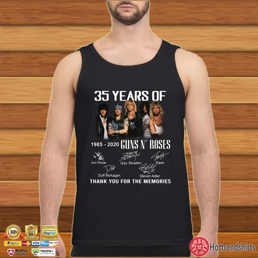 35 Years Of 1985-2020 Guns N'Roses thank you for the memories shirt