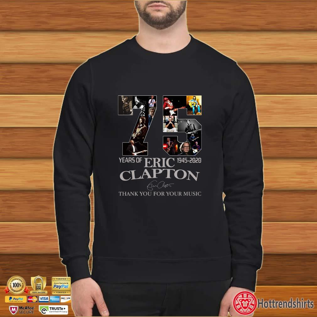 75 years of Eric Clapton 1945-2020 signature thank you shirt