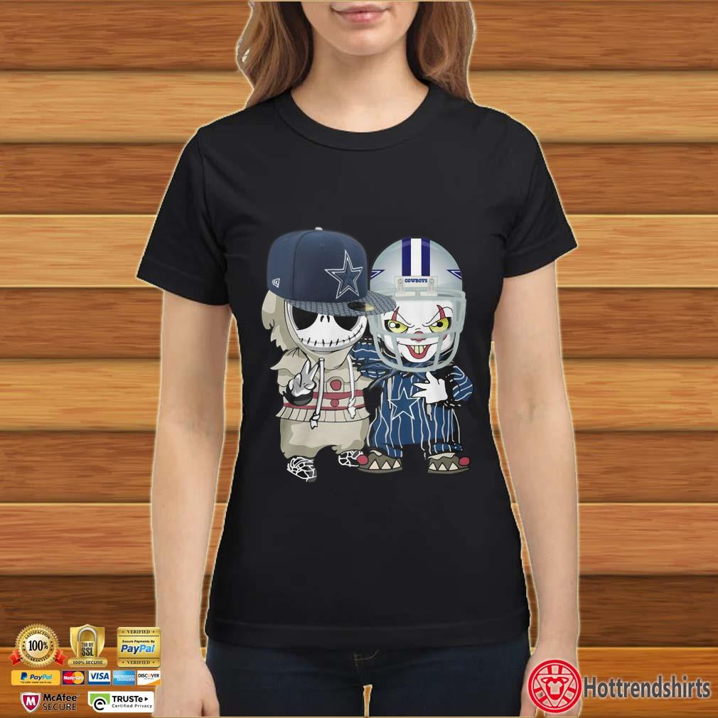 Baby Jack Skellington And Pennywise IT Clown Friends Halloween Dallas Cowboys Football Fans Shirt