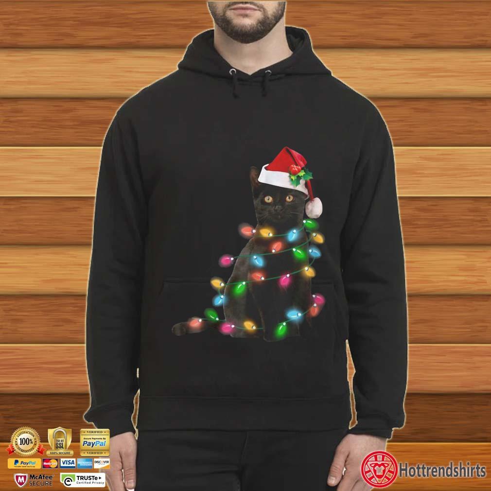 Black Cat Christmas Light Shirt