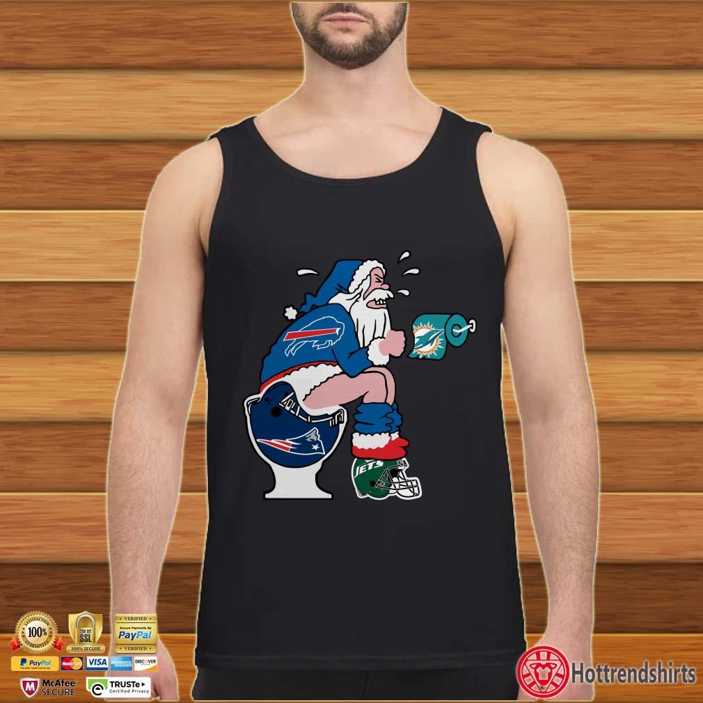 Buffalo Bills, Miami Dolphins, New York Jets And New England Patriots Santa Shit Toilet Shirt