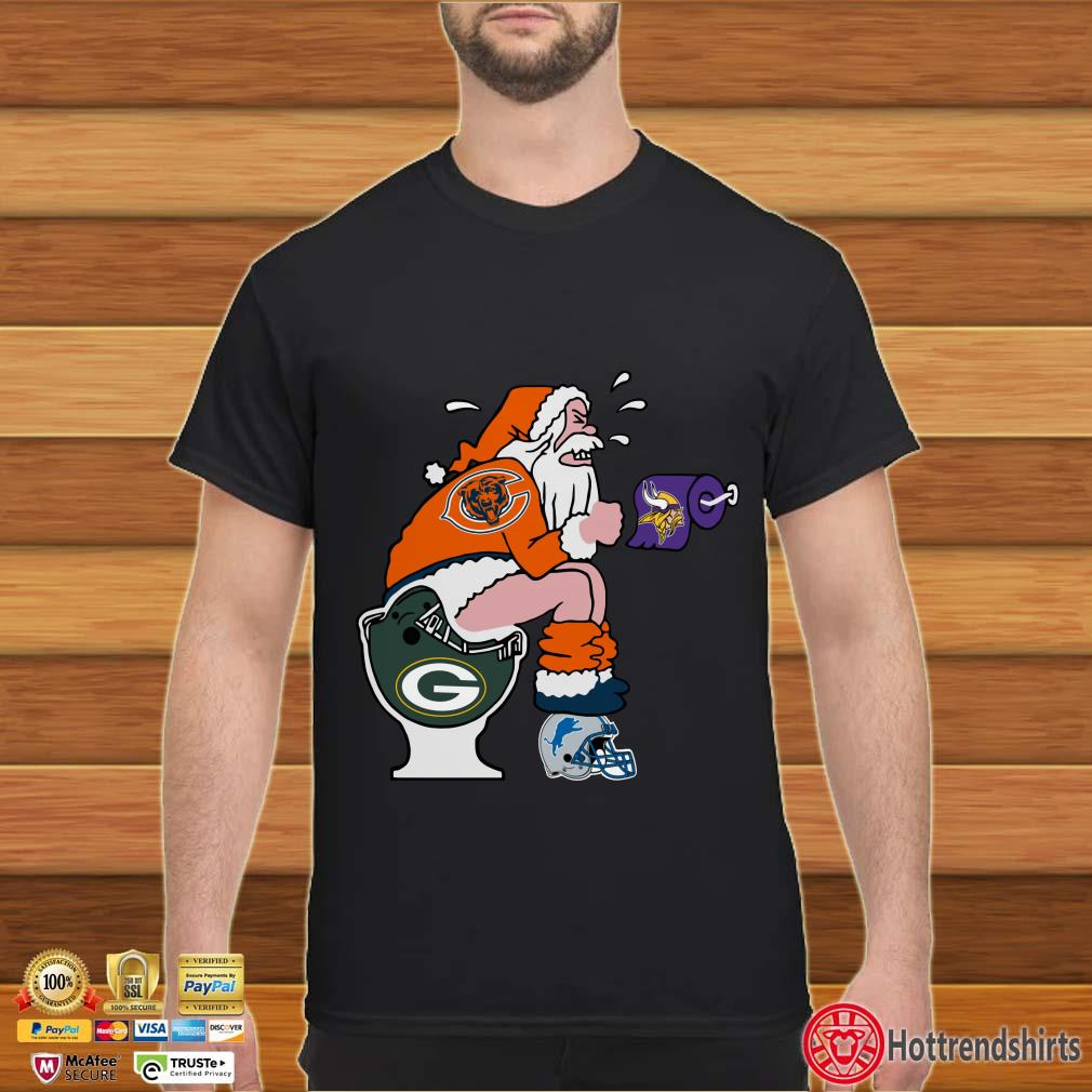 Chicago Bears, Minnesota Vikings, Detroit Lions And Green Bay Packers Santa shit toilet Shirt