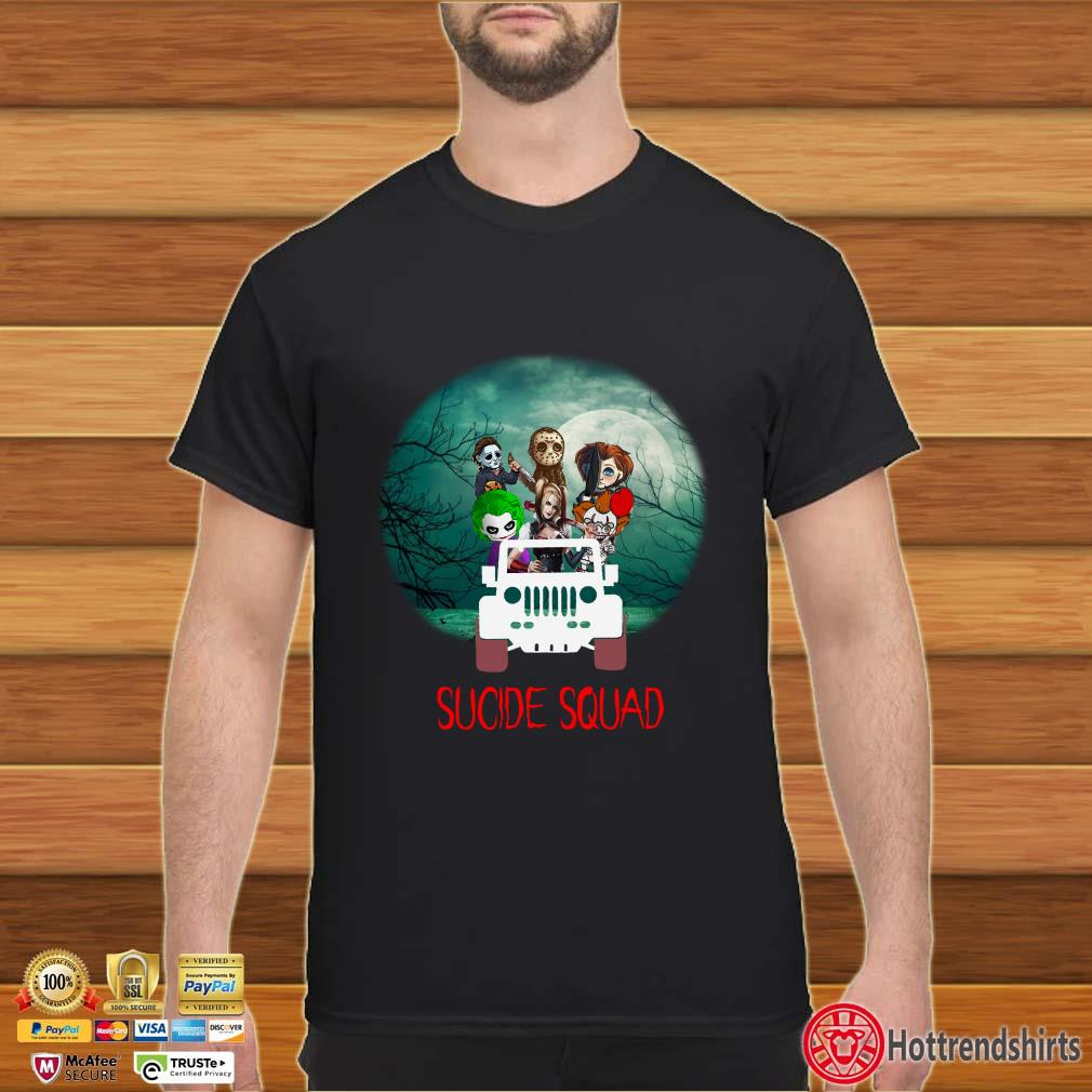 Horror Characters on Jeep Suicide Squad Halloween Shirt