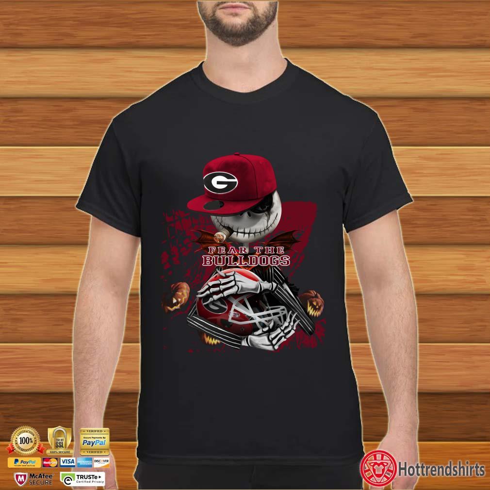 Jack Skellington Hugging Helmet Georgia Bulldogs Fear The Bulldogs Shirt