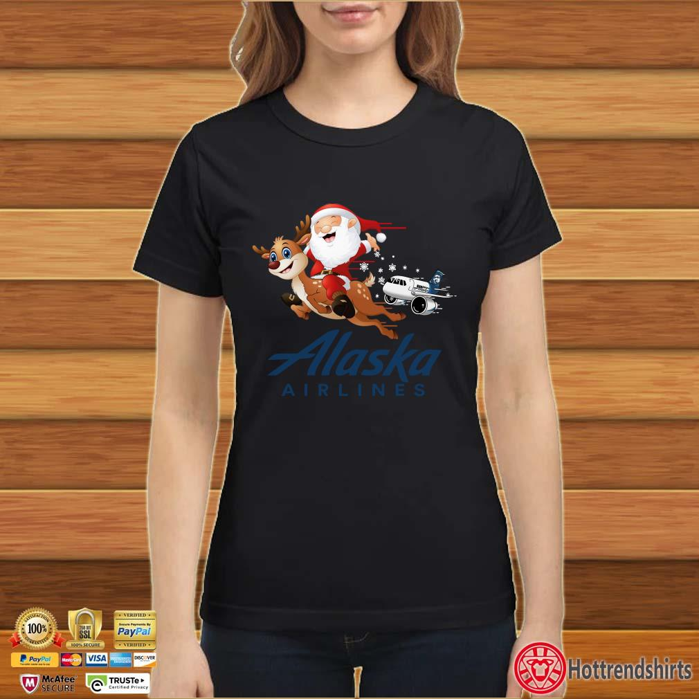 Alaska Airlines Santa Claus riding Reindeer Shirt