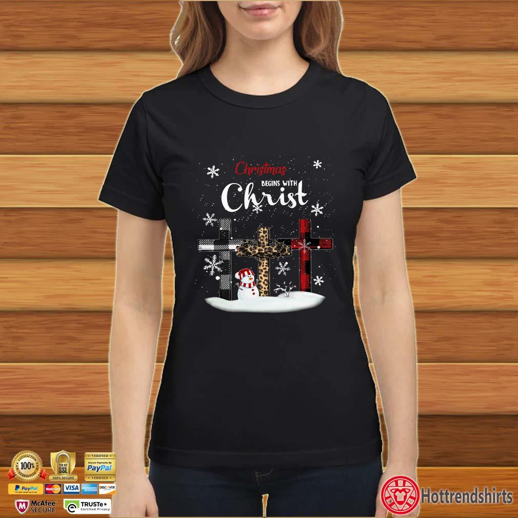 Christmas Begins with Christ Cross snowman shirt