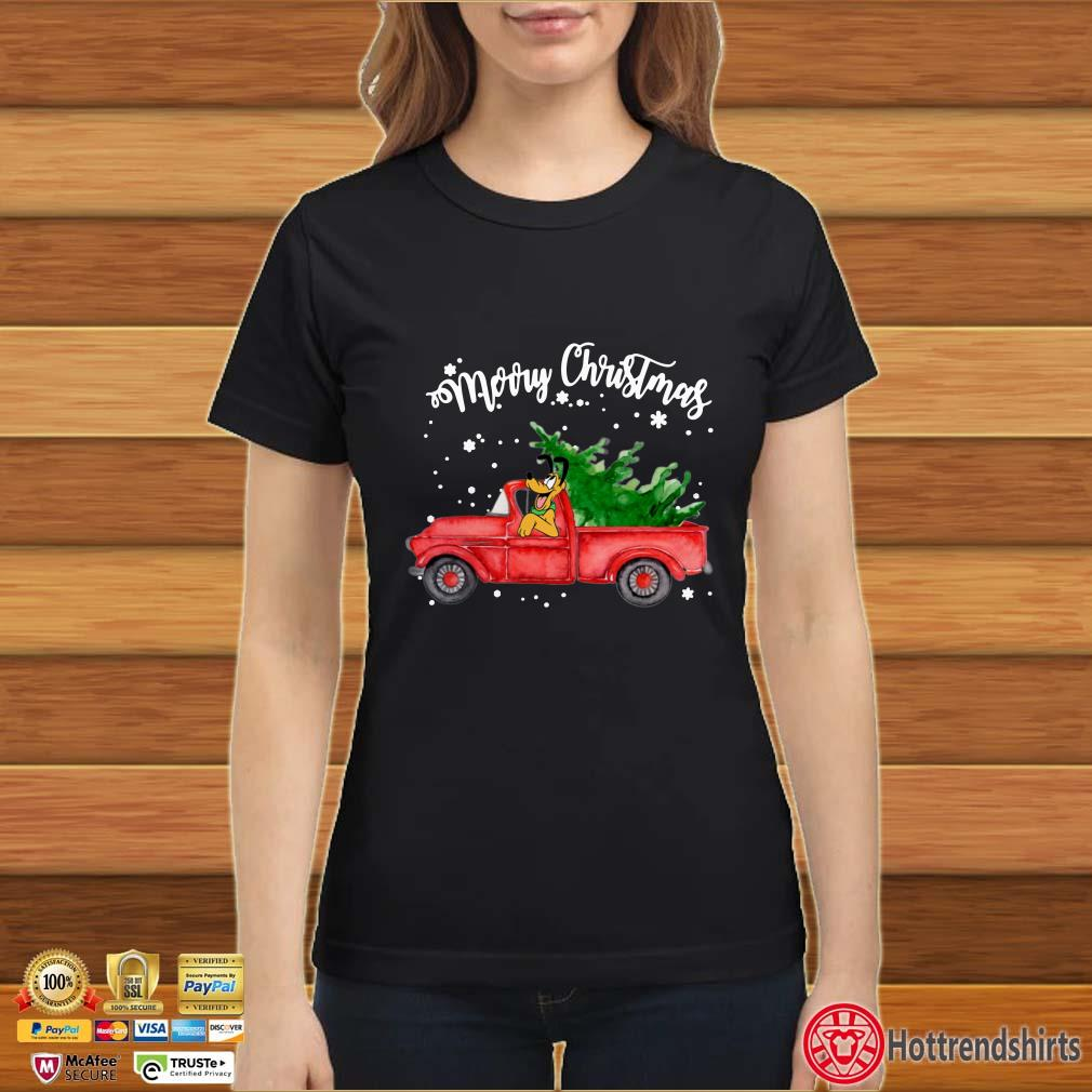 Merry Christmas Pluto On Red Truck Shirt