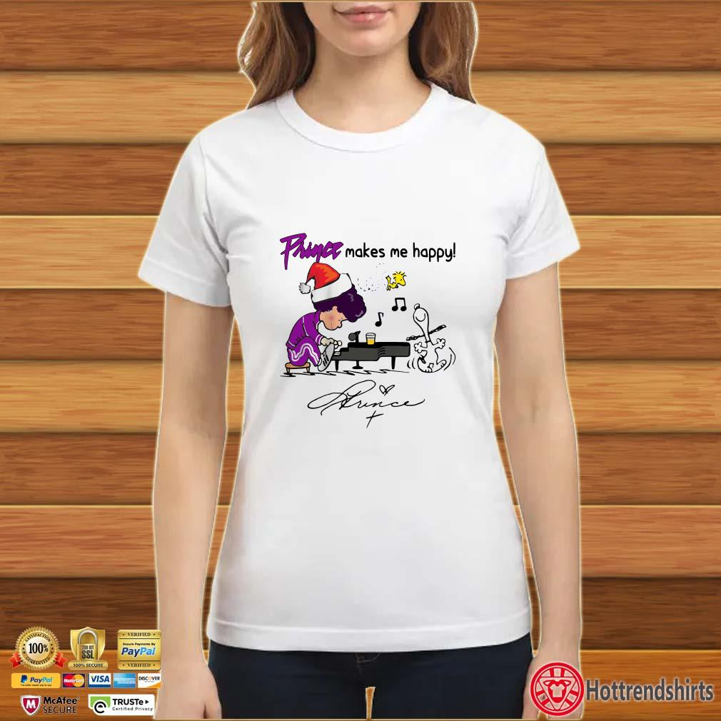Prince Makes Me Happy Schroeder Snoopy Peanuts signature Shirt