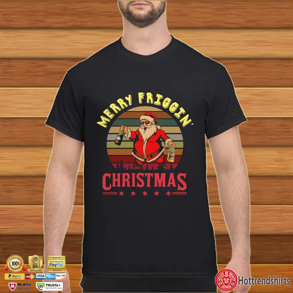 Santa Claus Merry friggin christmas sunset vintage shirt