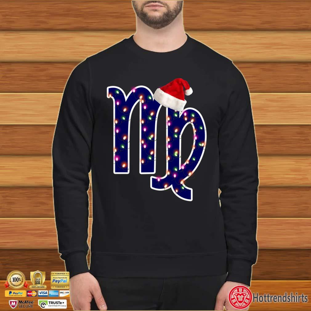 Virgo Zodiac Sign In Christmas Lights And Santa's Hat Nice Shirt