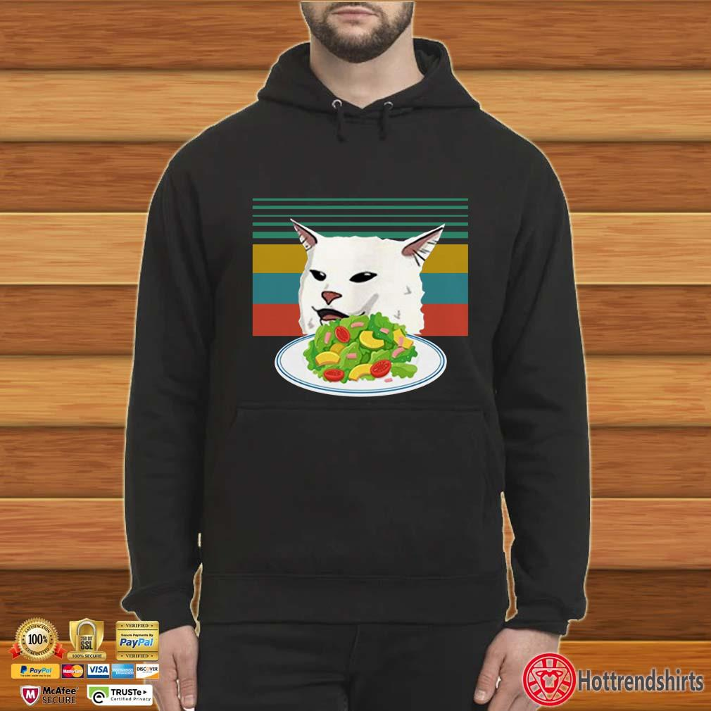 Angry Women Yelling at Confused cat at Dinner Table Meme Funny Vintage Shirt