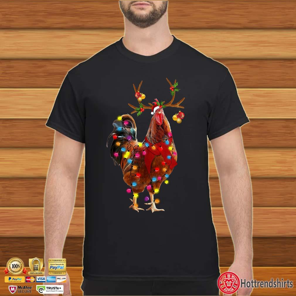 Chicken Reindeer Light Christmas Shirt