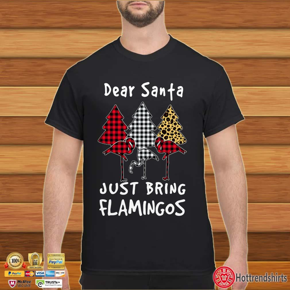 Dear Santa Just Bring Flamingos Plaid Christmas Tree Shirt