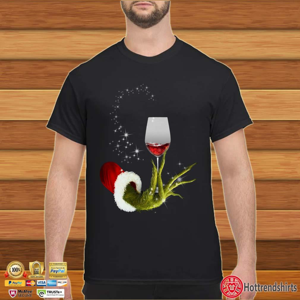 Grinch Hand Holding Glass Of Wine Light Christmas Shirt