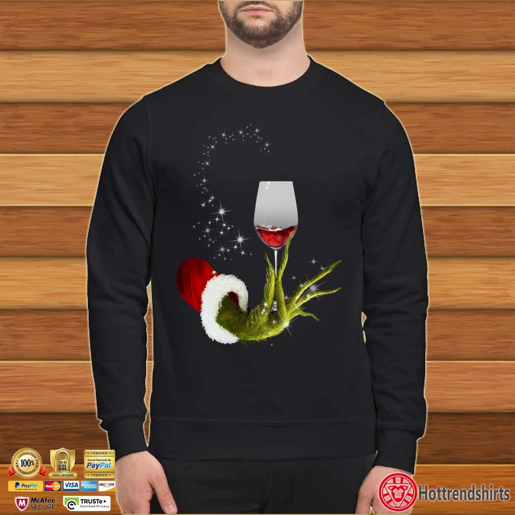 Grinch Hand Holding Glass Of Wine Light Christmas Shirt