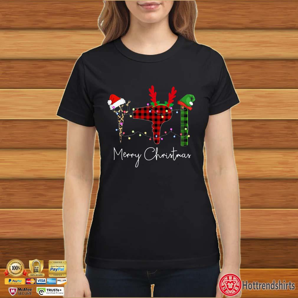 Hair Stylist Leopard Merry Christmas Shirt
