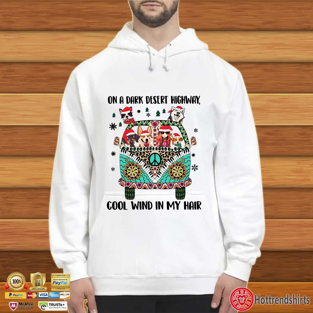 Hippie Car Dogs on a dark desert highway cool wind in my hair Christmas shirt