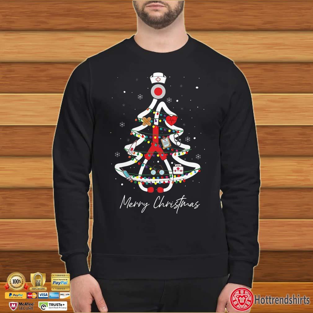 Nurse Christmas Light Tree Merry Christmas Shirt