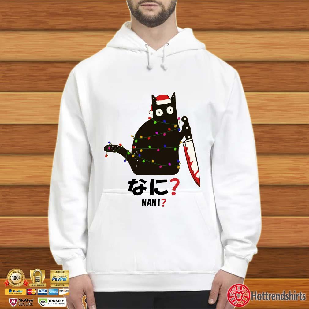 Santa Nani murderous black cat with knife Christmas Shirt