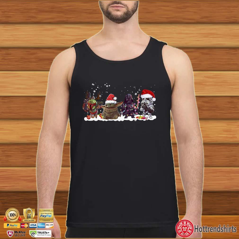 Star Wars Boba Fett Baby Yoda Darth Vader and Stormtrooper chibi Christmas Shirt