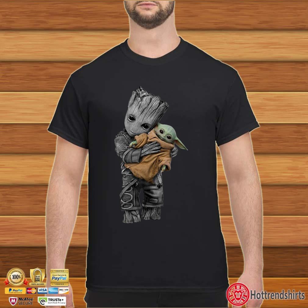 Baby Groot Hug Baby Yoda Shirt