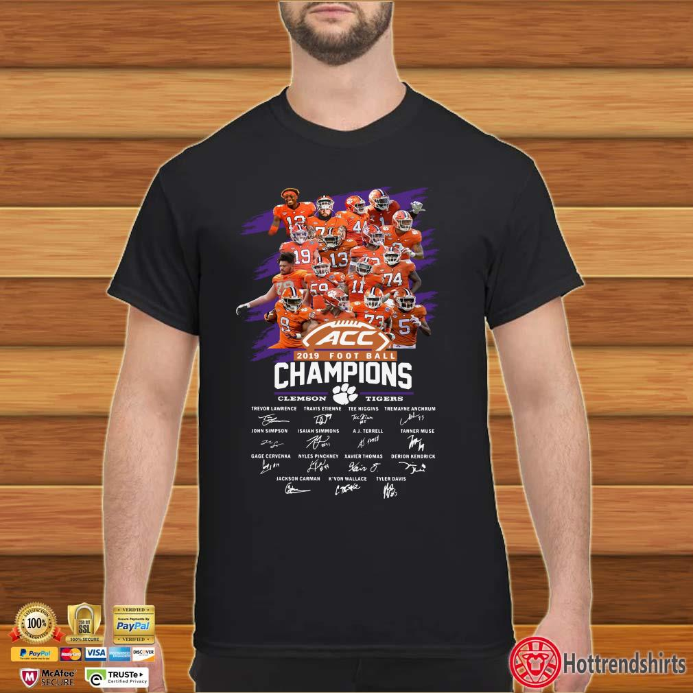 Clemson Tigers ACC 2019 Football Champions Players Team Signatures Shirt
