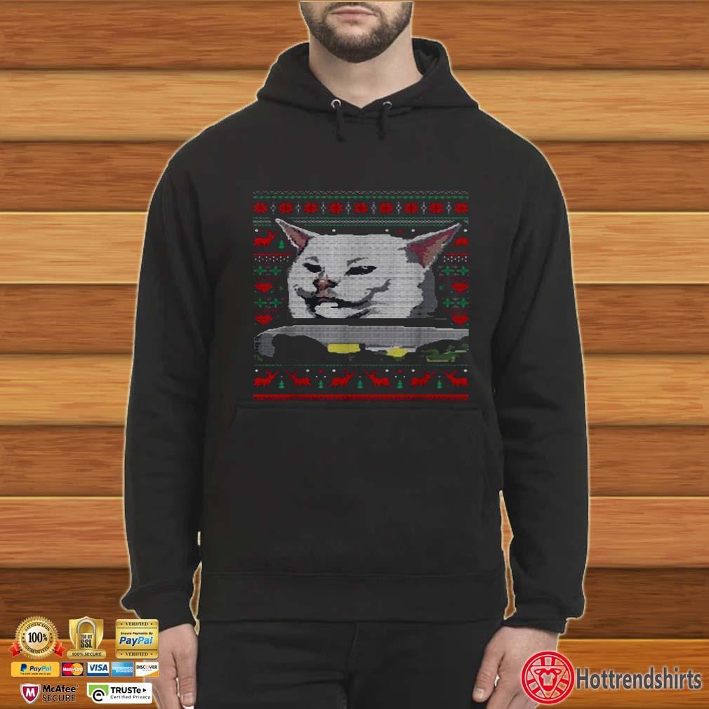 Dinner cat meme ugly Christmas Shirt