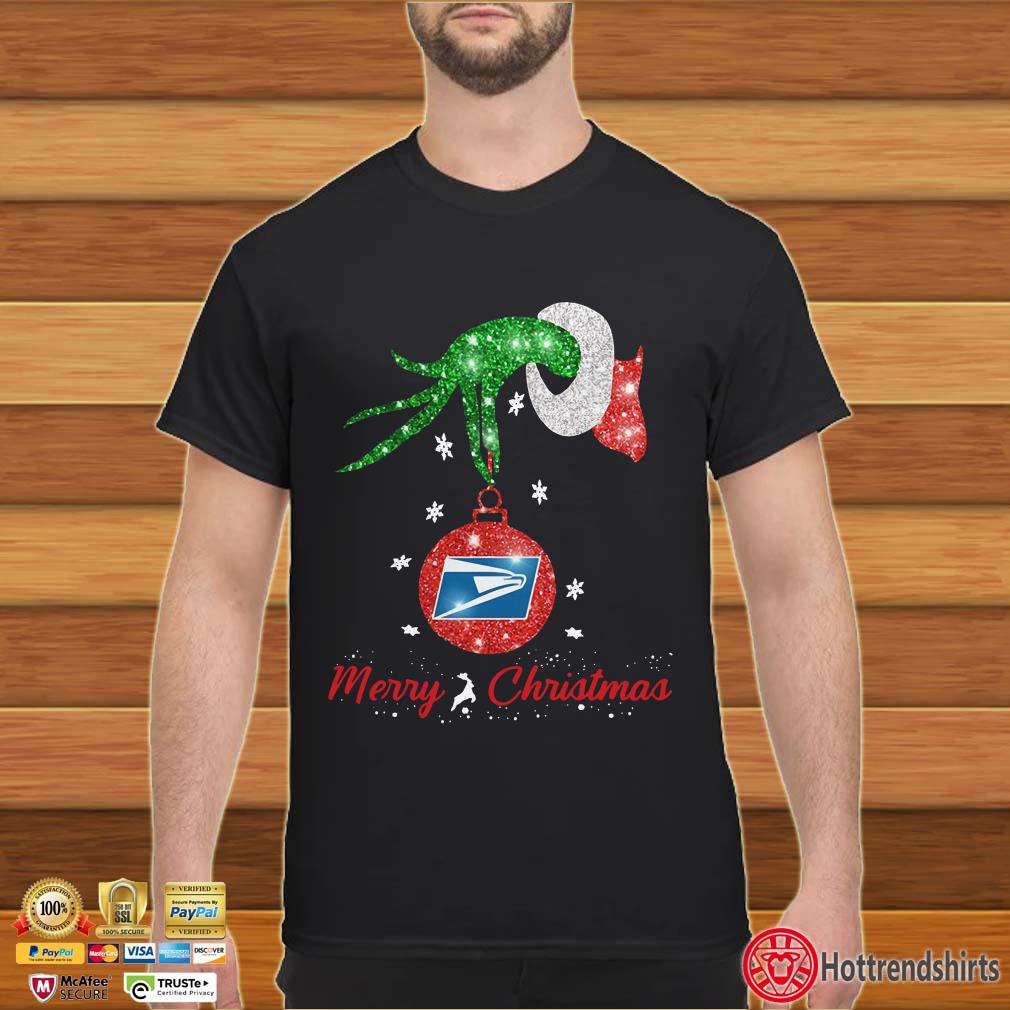 Grinch hand holding USPS Merry Christmas Shirt