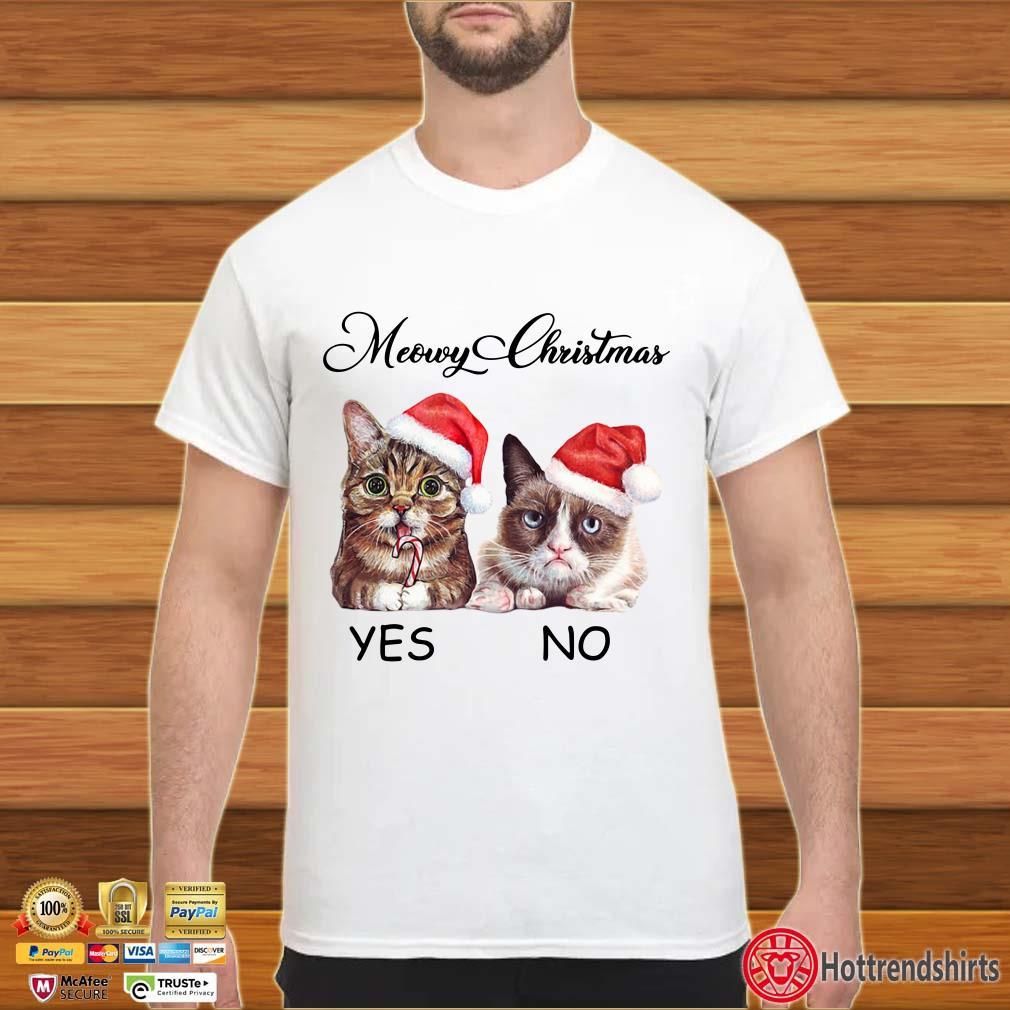Santa Cats Memory Christmas Yes No Shirt