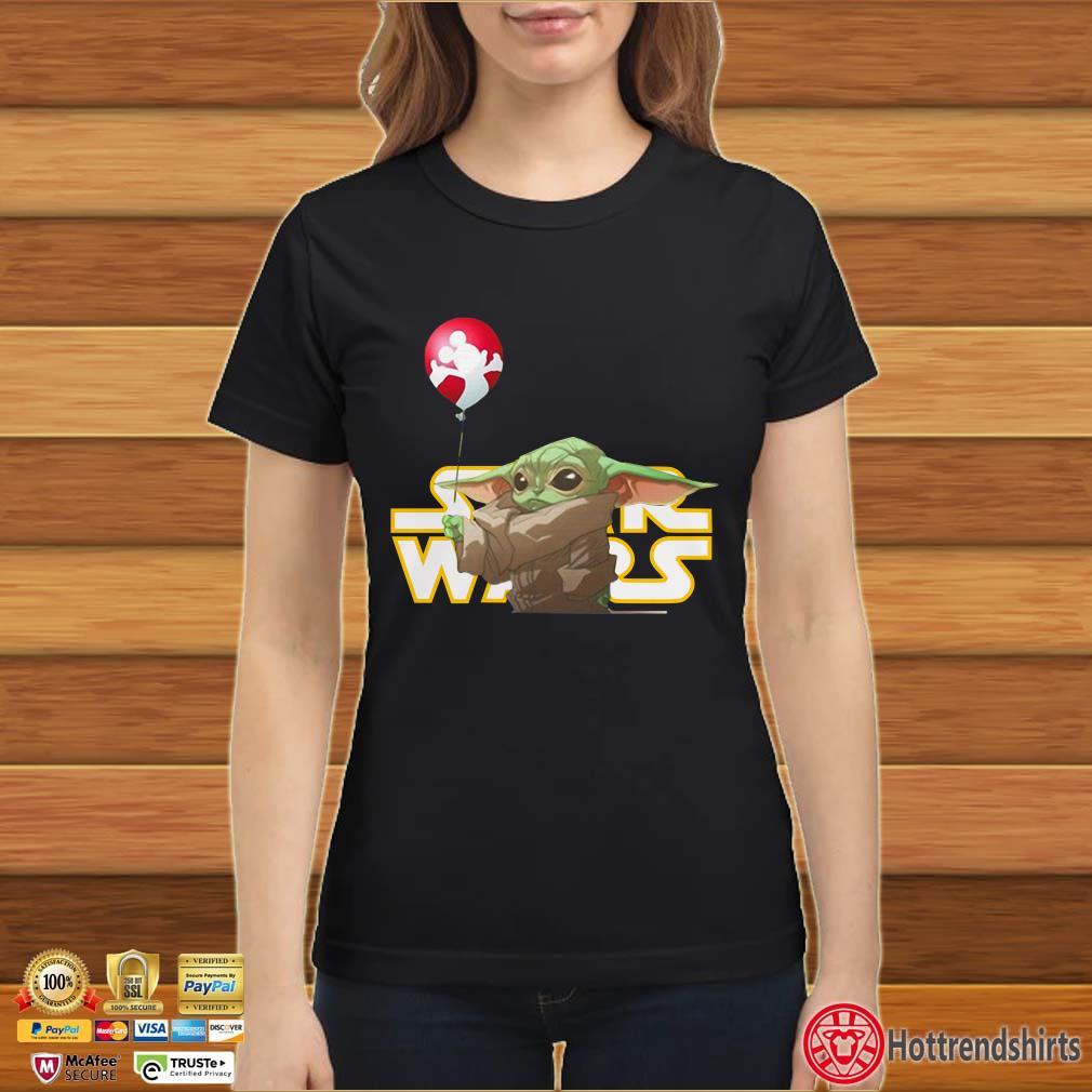 Star Wars Baby Yoda Hand Holding Balloon Mickey Mouse Shirt