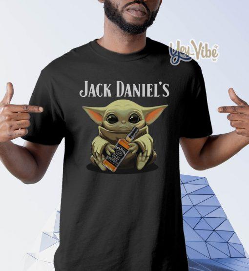 Baby Yoda hug Jack Daniel's Whiskey t shirts