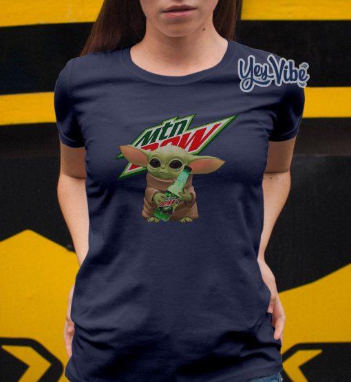 Baby Yoda Hug Mountain Dew shirt