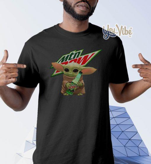Baby Yoda Hug Mountain Dew t shirts
