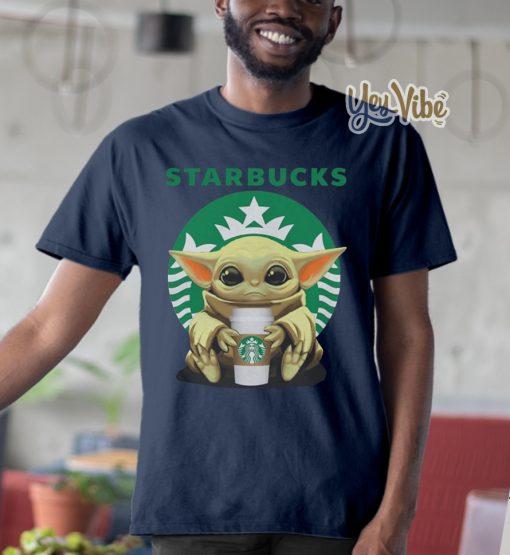 Baby Yoda hug Starbucks shirts