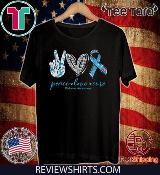 Peace Love Cure Diabetes Awareness Unisex T-Shirt