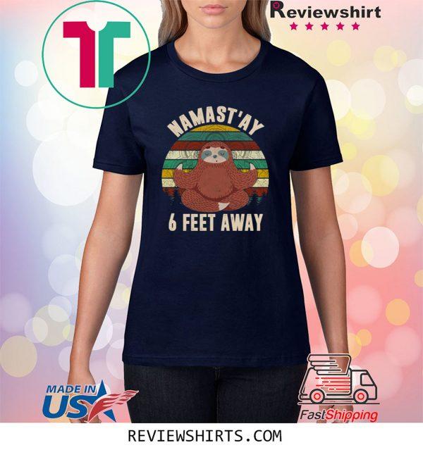 6 Feet Away Sloth Social Distancin Vintage Retro Covi-19 T-Shirt