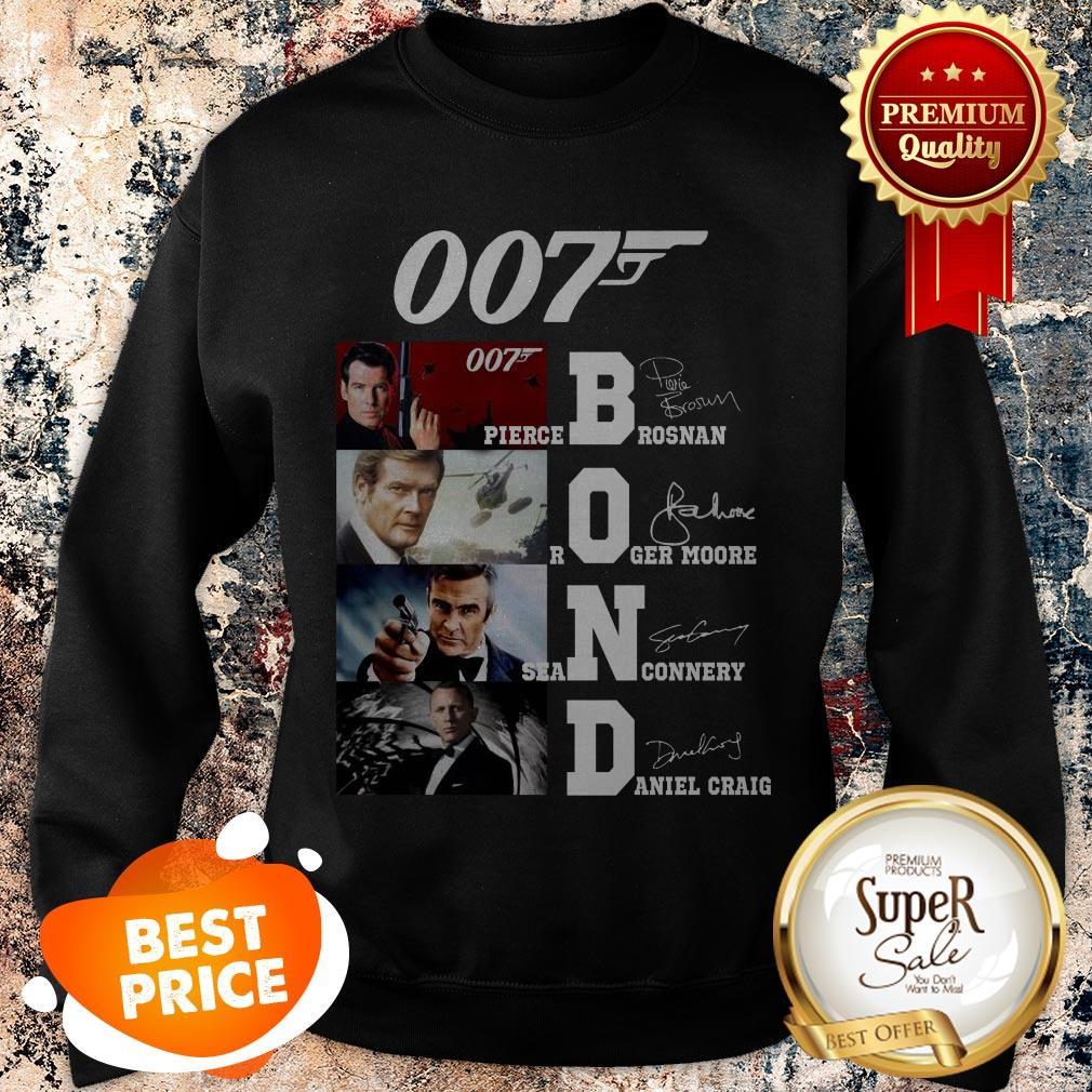 007 James Bond Pierce Brosnan Roger Moore Sean Connery Signature Sweatshirt