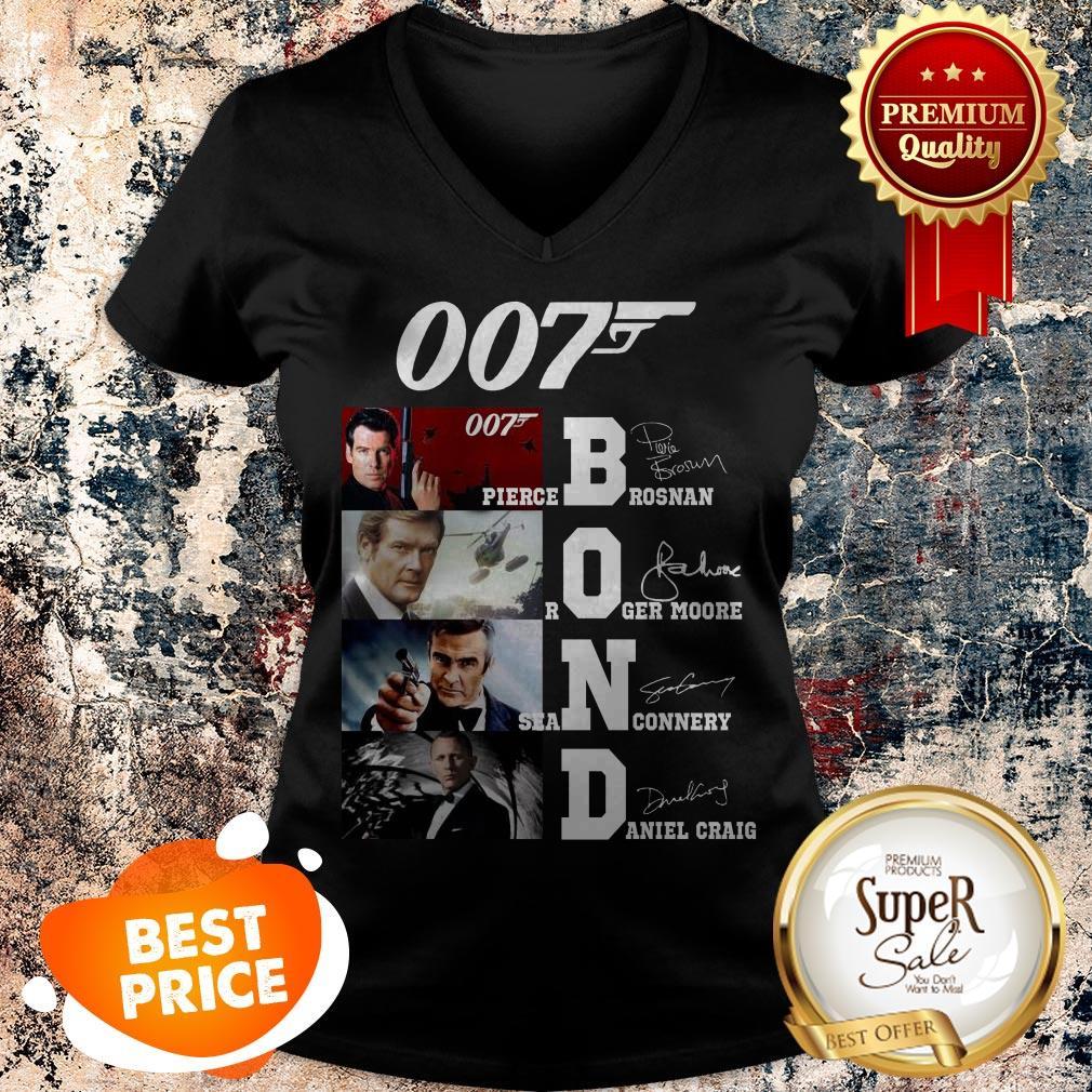 007 James Bond Pierce Brosnan Roger Moore Sean Connery Signature V-neck