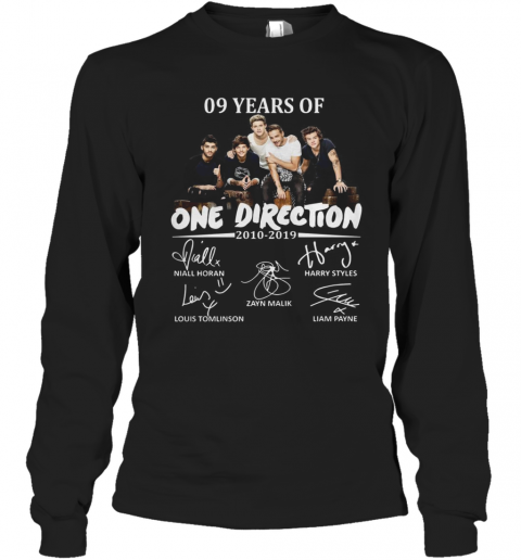 09 Years Of One Direction 2010 2019 Signatures T-Shirt Long Sleeved T-shirt