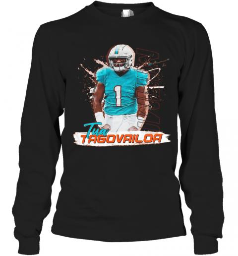 1 Tua Tagovailoa Miami Dolphins Football T-Shirt Long Sleeved T-shirt