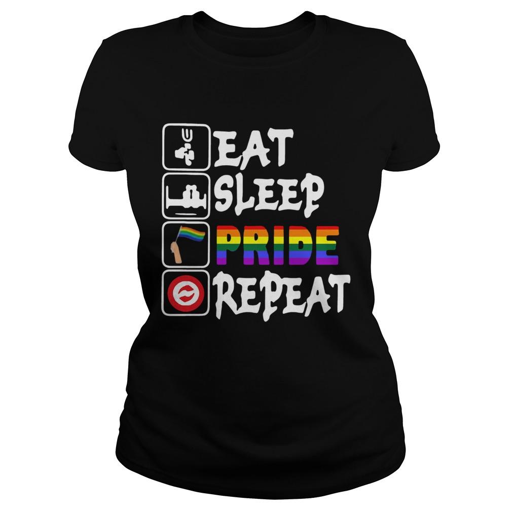 LGBT Eat Sleep Pride Repeat  Classic Ladies