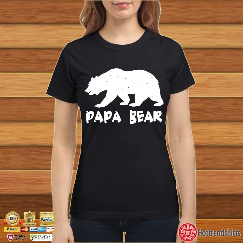 Papa Bear Funny Matching Shirt Ladies đen