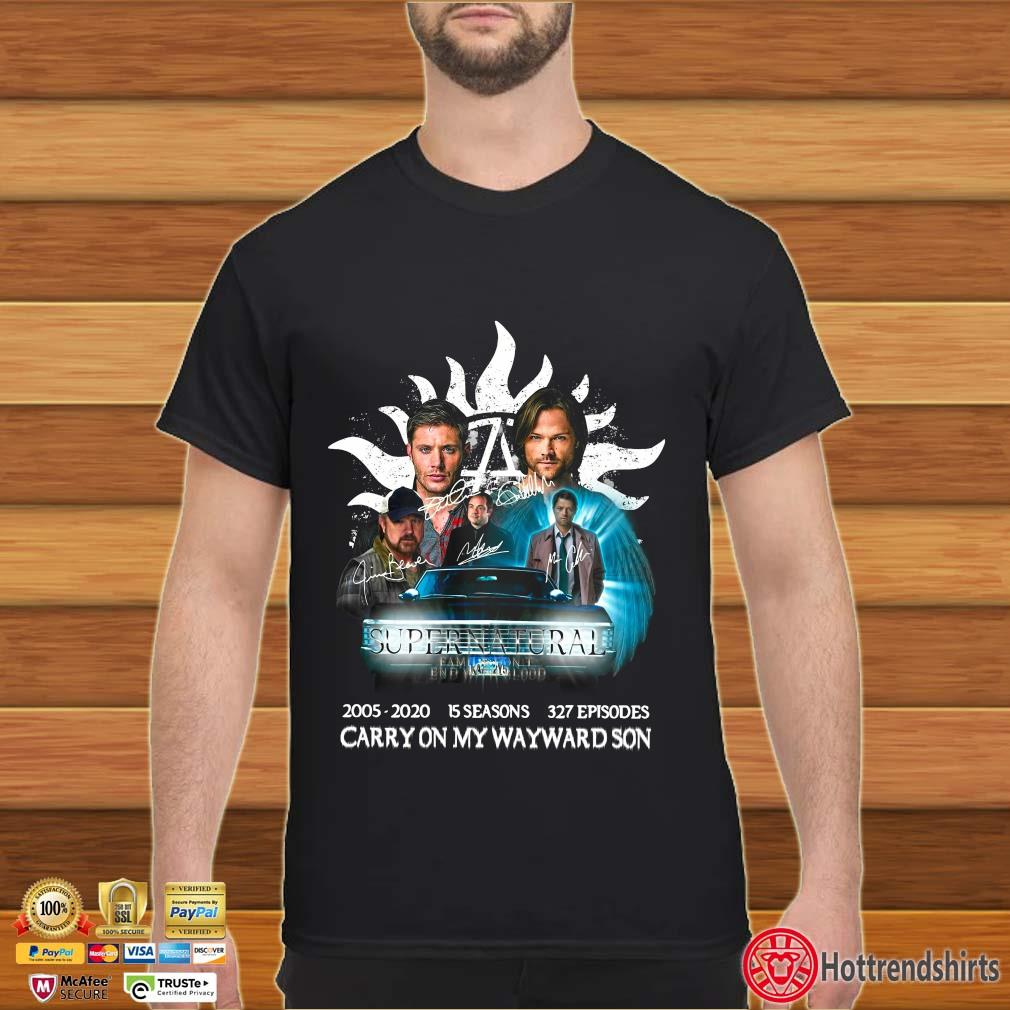 Supernatural Family Don't End With Blood Carry On My Wayward Son Signature Shirt