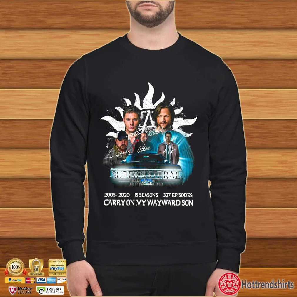 Supernatural Family Don't End With Blood Carry On My Wayward Son Signature Shirt Sweater den