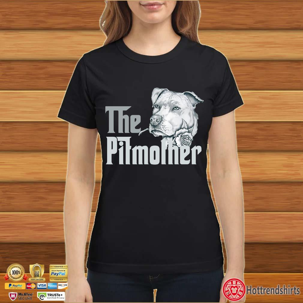 The Pitbull Mother Rose Shirt Ladies đen