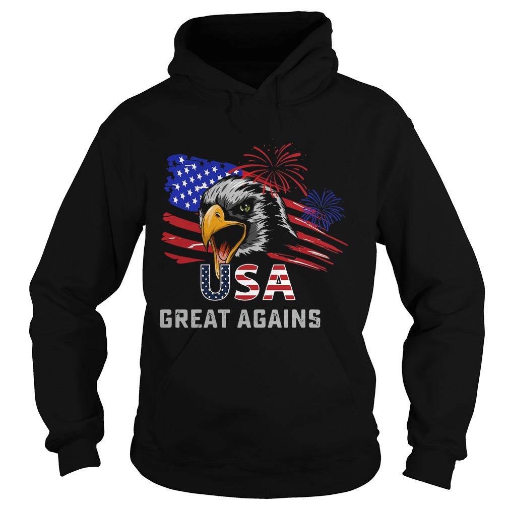 USA Great Again 4th Of July Bald Eagle American Flag  Hoodie