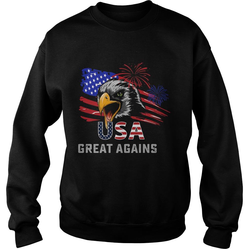 USA Great Again 4th Of July Bald Eagle American Flag  Sweatshirt
