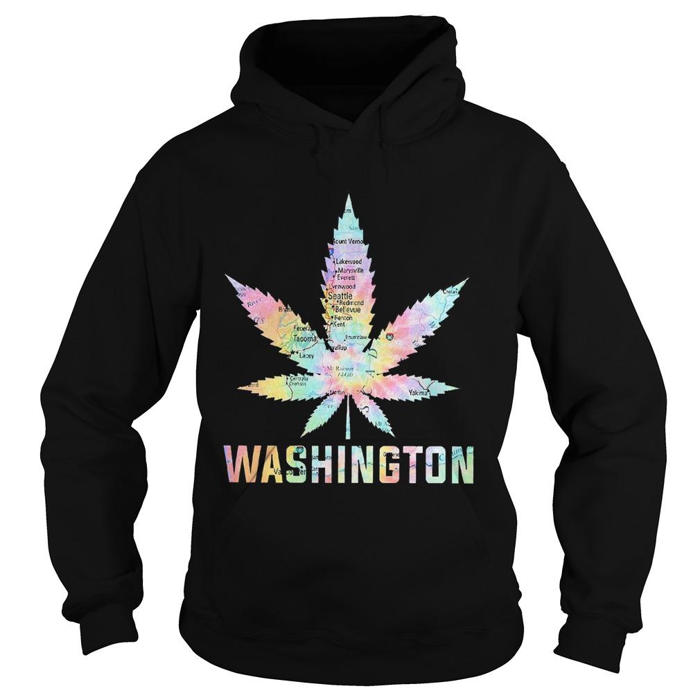 Weed Marijuana Washington To Map  Hoodie