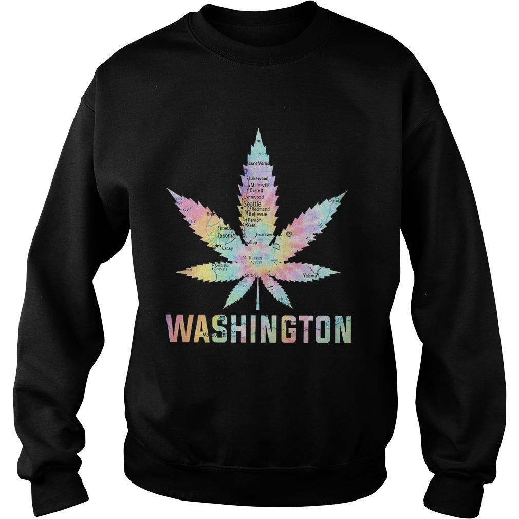 Weed Marijuana Washington To Map  Sweatshirt