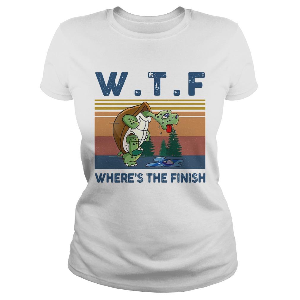 WTF Wheres The Finish Turtle Vintage Retro  Classic Ladies